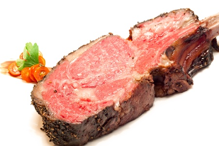 Gourmet Main Entree Course Roasted Wagyu beef steak photo
