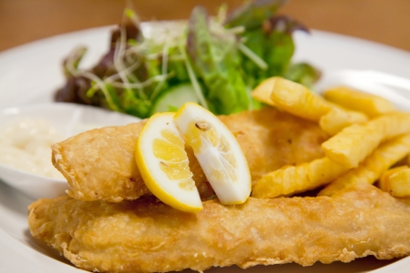 battered: Fish and Chip with green salad