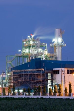 Architecture of Industry boiler in Oil Refinery Plant at dusk