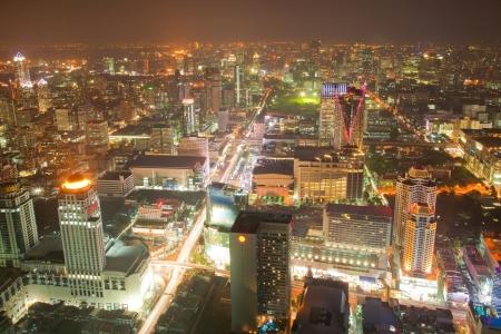 Aerial Bangkok Skyline Downtown Cityscape Thailand at Night photo