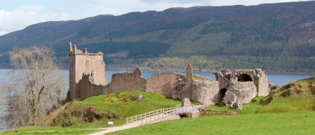 Panorama Ruins of Urquhart Castle near Loch Ness Inverness Highlands Scotland UK photo
