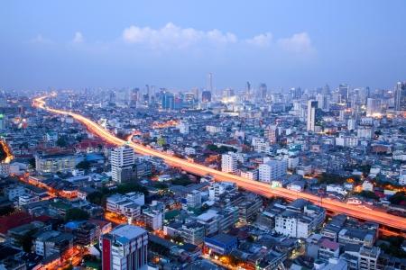 bangkok city: aerial view of Bangkok Highway and skylines building downtown Stock Photo