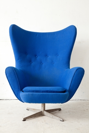 antique chair: Blue modern style Armchair in vintage room