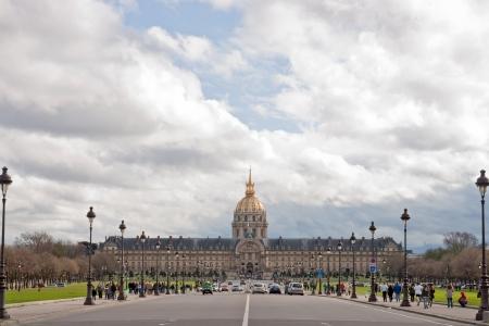 invalides: Paris Lhotel national des Invalides from Pont Alexandre III Bridge France Editorial