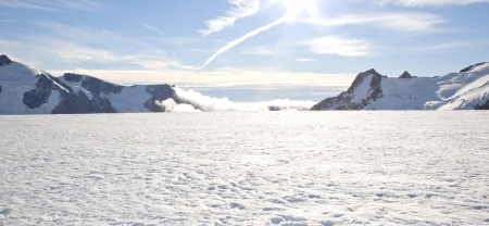 franz josef: Panorama of Winter landscape at Mountain Cook National Park New Zealand