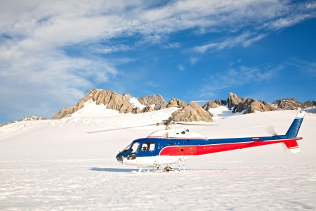 franz josef: Helicoptor at Winter Landscape of Mountain cook Peak New Zealand Stock Photo