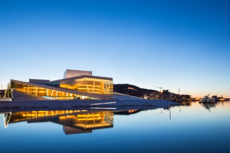 winter theater: Oslo Opera House shine at dusk, morning twilight,  Norway Editorial