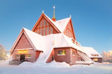 kiruna: Kiruna cathedral church Architecture Sweden at dusk twilight Stock Photo