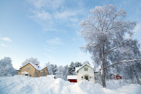 Winter landscape with house at Kiruna Sweden Stock Photo - 17162634