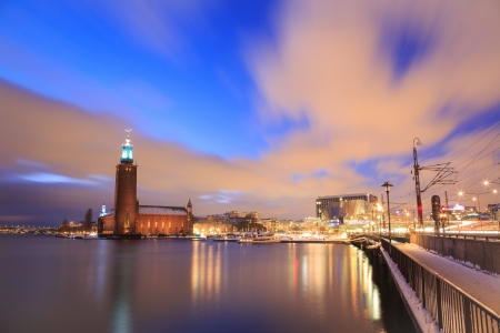 Architecture Stockholm City Hall at dusk twilight Sweden  photo