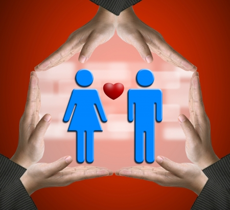 Hands showing Home sign with Male and Female in love using for Sweet home conceptual Stock Photo - 17162681