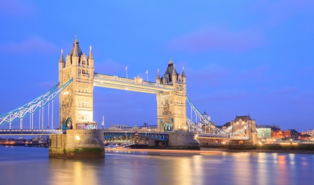 places of interest: Panorama of Tower Bridge at dusk London England UK