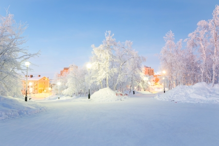 Winter landscape City Garden in Kiruna Sweden photo