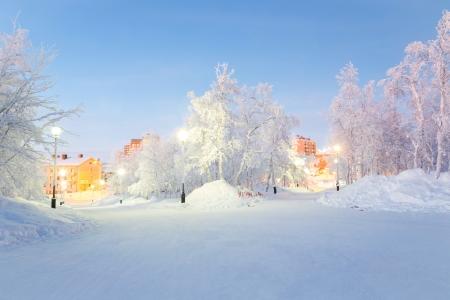kiruna: Winter landscape City Garden in Kiruna Sweden