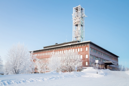 kiruna: Architecture Kiruna City Hall at dusk twilight Sweden