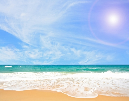 White Sand Beach with Perfect Sunny blue Sky at Phuket Thailand Stock Photo - 17192341
