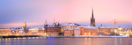 Panorama Cityscape of Gamla Stan Old Town Stockholm city at dusk Sweden photo