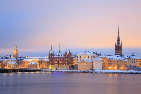 Cityscape of Gamla Stan Old Town Stockholm city at dusk Sweden photo