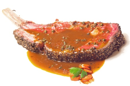 prime rib: Gourmet Main Entree Course Grilled Wagyu beef steak with spicy Pepper sauce