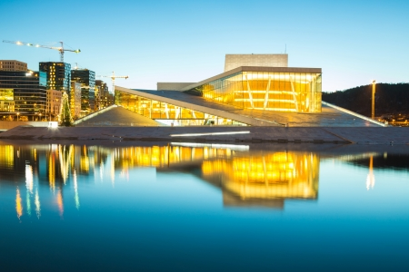 Oslo Cityscape with Opera House shine at dusk, morning twilight,  Norway