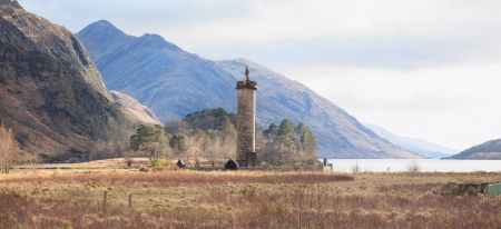 the jacobite: Jacobite Monument at Loch Shiel Lake and Reflection Glenn Finnan Highlands Scotland
