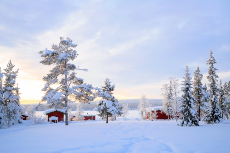 Winter landscape with house at Kiruna Sweden lapland Stock Photo - 17288944