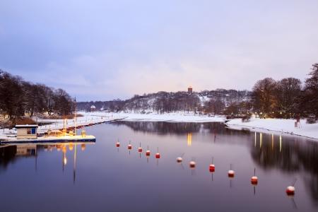 Winter lake landscape in Stockholm Sweden photo