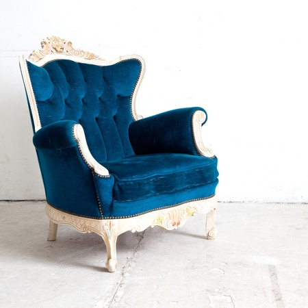 Blue classical style Armchair sofa couch in vintage room photo