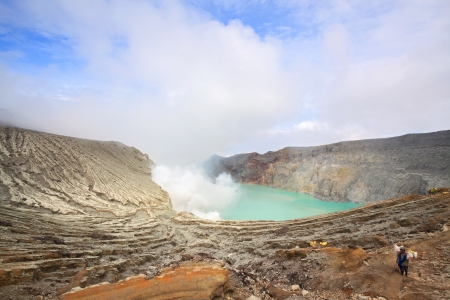 crater lake: Worker at Sulfur Mine at Khawa Ijen Volcano Crater Java Island Indonesia
