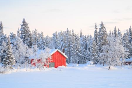 lapland: Winter landscape with house at Kiruna Sweden lapland
