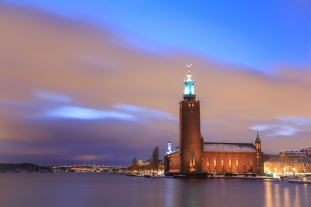 Architecture Stockholm City Hall at dusk twilight Sweden