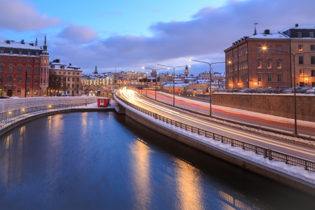 Gamla Stan Highway to Stockholm Cityscape at dusk Sweden photo