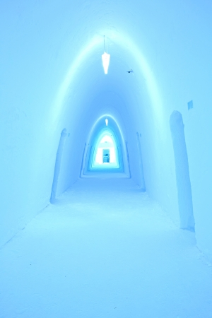 Colorfully illuminated corridor in an ice hotel Stock Photo - 17522907