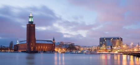cityhall: Panorama Stockholm Cityhall at dusk  Sweden