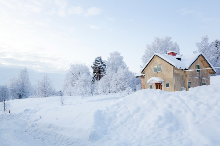 Winter landscape with house at Kiruna Sweden Lapland Stock Photo - 17635641