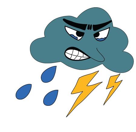 partial: Thunderbolt tormenta con lluvia Icono de Previsi�n del Tiempo Vectores