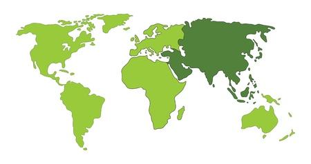 carte europe: Asie sur la carte du monde illustration
