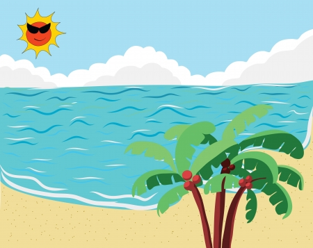 Tropical Beach for Summer Background Stock Vector - 17818354
