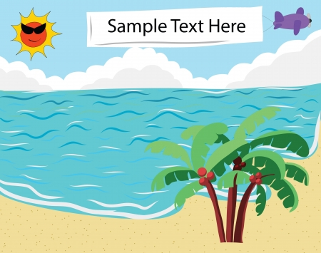 tropical beach panoramic: Tropical Beach with empty banner for Summer Background