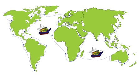 Freight Transportation logistic with World map Illustration