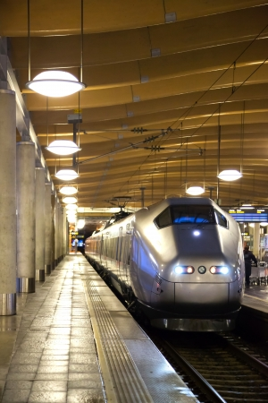 bullet train: Bullet modern train at metro station platform in Oslo Norway Editorial