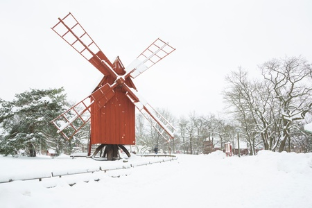 Beautiful winter windmill landscape in Stockholm Sweden Stock Photo - 17818370