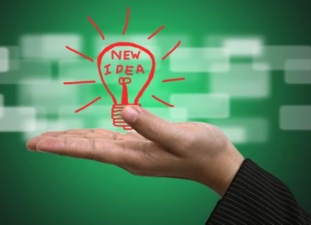 Light bulb on Business hand for New Idea Innovation Concept