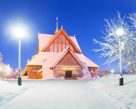 kiruna: Kiruna cathedral church Architecture Sweden at dusk twilight with star trail Stock Photo