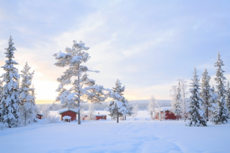 Winter landscape with house at Kiruna Sweden lapland Stock Photo - 17993412