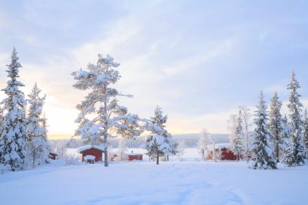 kiruna: Winter landscape with house at Kiruna Sweden lapland