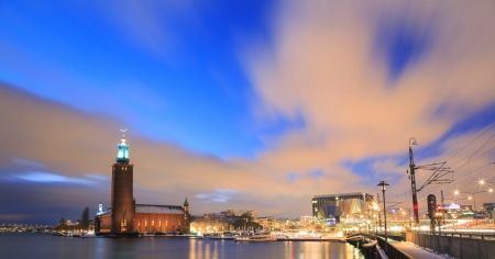 cityhall: Panorama Architecture of Stockholm City Hall at dusk twilight Sweden