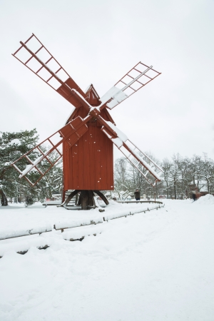Beautiful winter windmill landscape in Stockholm Sweden Stock Photo - 17993396
