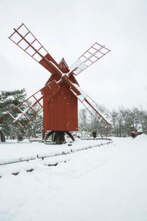 Beautiful winter windmill landscape in Stockholm Sweden Stock Photo - 17993396
