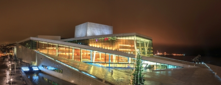 Panorama Oslo Opera House shine at night Norway